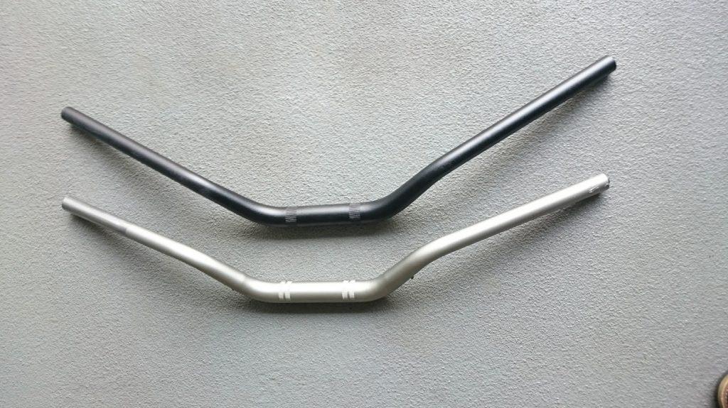 Active Fanatic ハンドルキットのハンドルバーとノーマルハンドルの比較。