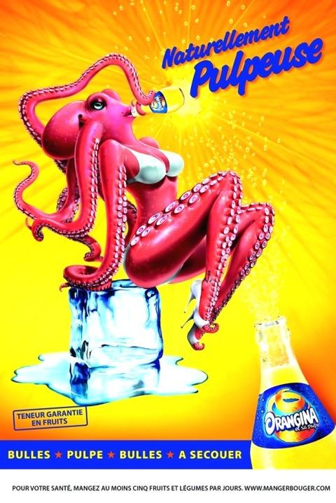 本場フランスでの「オランジーナ」の広告。