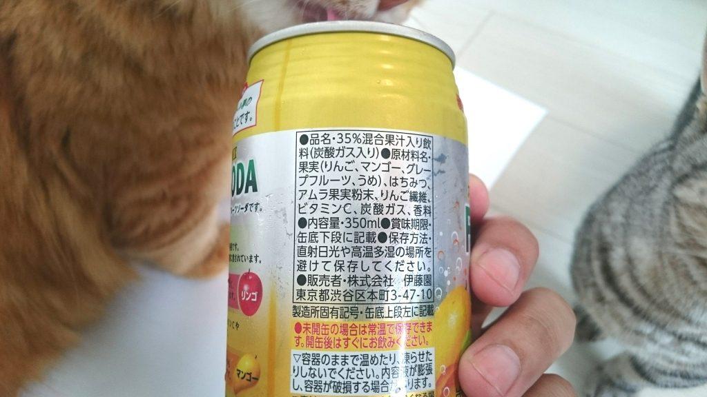 伊藤園「スーパーフルーツMIX フルーツソーダ」の甘みは果汁とハチミツのみ。