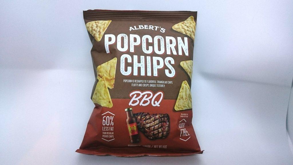 アルバーツ ポップコーンチップス バーベキューのパッケージはこんな感じ。