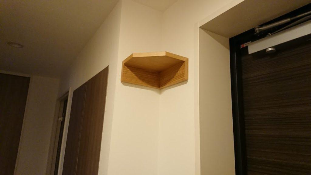 無印良品「壁に付けられる家具・コーナー棚」取り付け後(全景)。