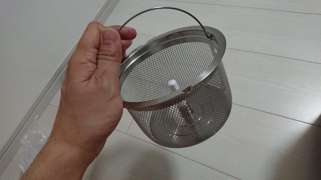 ツインバード「精米御前 コンパクト精米器 MR-D428W」の精米かご。