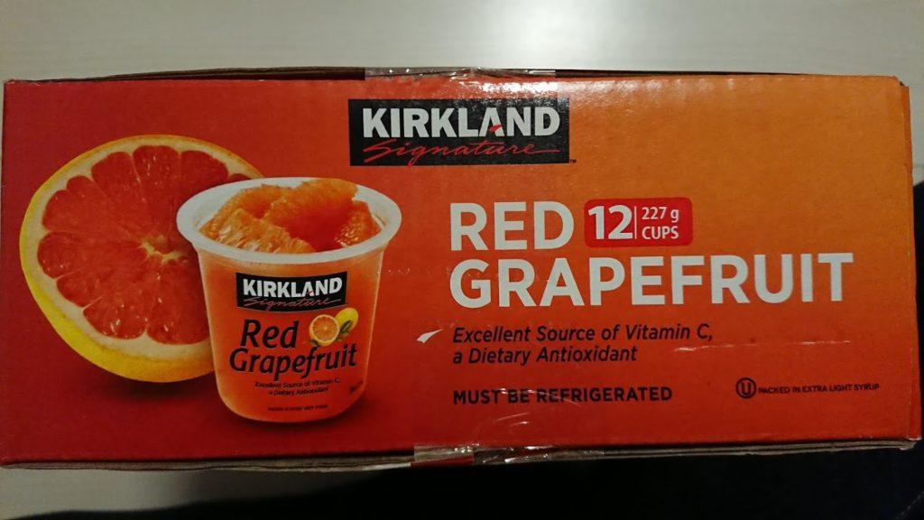 カークランド「グレープフルーツ・シラップづけ」の箱側面。