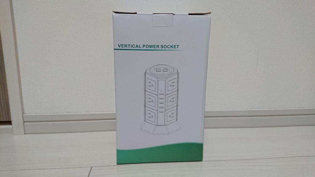 BEVA「タワー式電源タップ」のパッケージ外観。