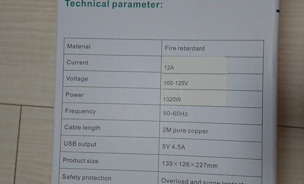BEVA「タワー式電源タップ」のスペック表(シール付き)