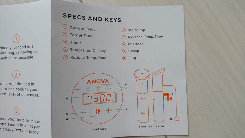 Anova Nanoの説明書。