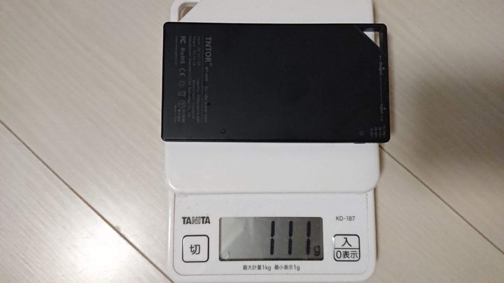 TNTOR「モバイルバッテリーWT-H330」の重さは111g。