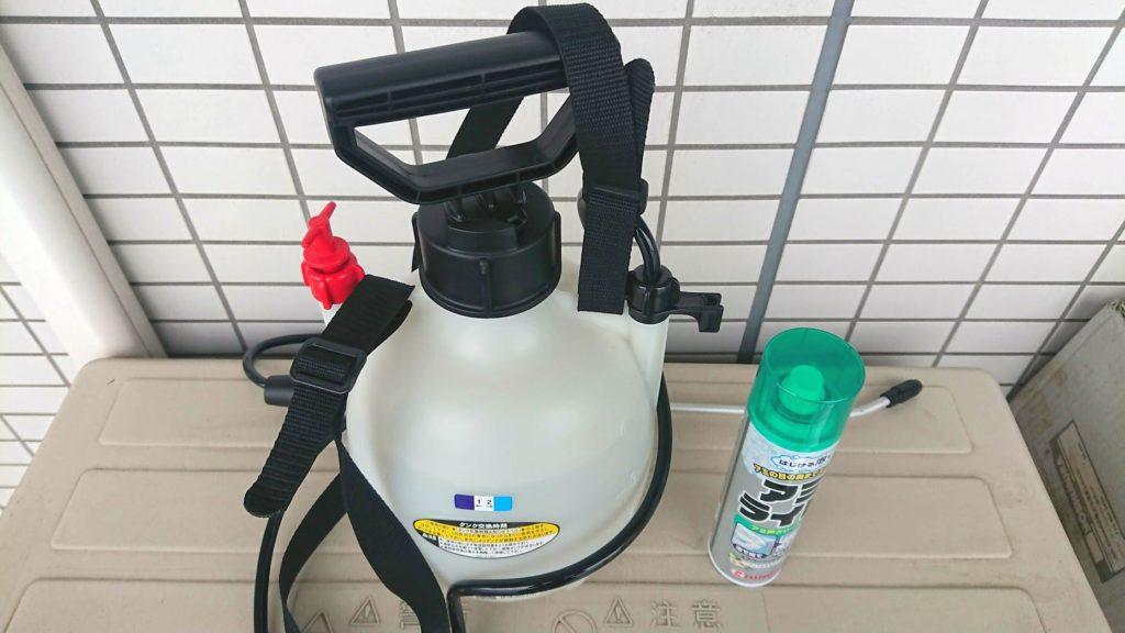 大日本除虫菊「アミライト」と噴霧器HS-401E。