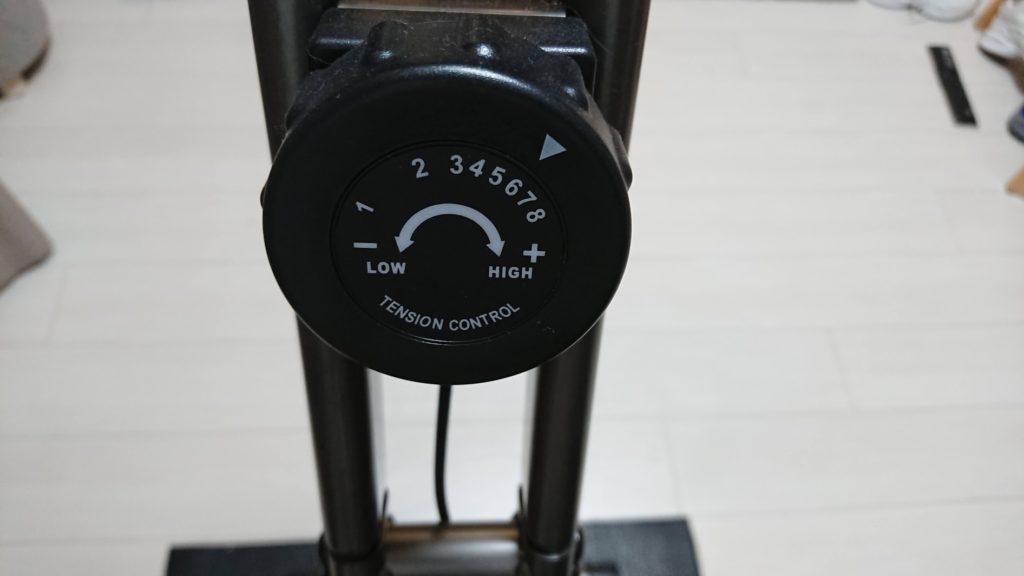 アルインコ「クロスバイクAFB4520K」の負荷調整ダイヤル。